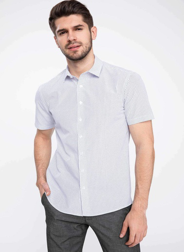 DeFacto Kısa Kollu Modern Fit Gömlek Beyaz
